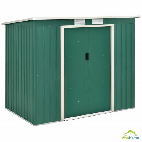 Kerti tároló, fészer, fém szerszámos, félnyereg tetővel + Fém alapszerkezet - 213 x 130 x 173 cm - kb. 4 m3, zöld színben