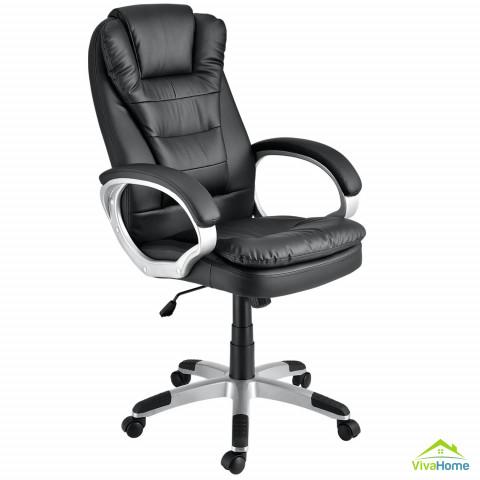 """Ergonomikus kialakítású irodai szék """"Orlando"""" (fekete) műbőr, háttámlával, karfával"""