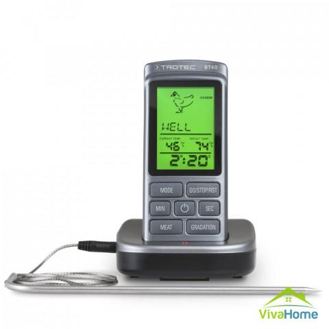 Digitális grillhőmérő, vezeték nélküli, 20 m hatótávolság - Trotec BT 40