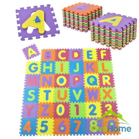 Habszivacs szőnyeg, puzzle 36-os darabos,  A-tól Z-ig és 0-tól 9-ig