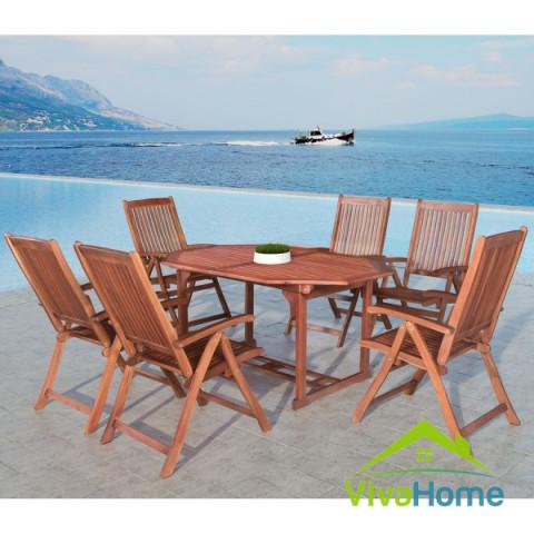 """Étkezőgarnitúra akácfából, 6 személyes, asztal és 6 db szék """"Bali"""""""