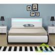 """Franciaágy keret ágyneműtartóval - LED világítással, kárpitozott, modern szövet ágy """"Bilbao"""" 140 x 200 cm - fehér"""