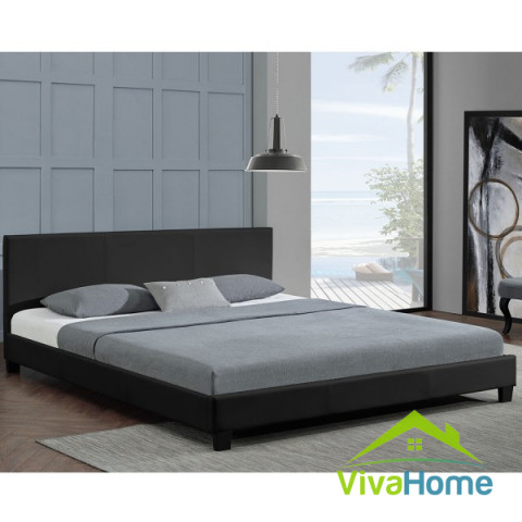 """Franciágy, kárpitos ágy matraccal """"Barcelona"""" 140 x 200 cm fekete"""