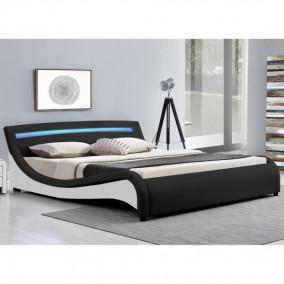 """Franciaágy keret - LED világítással, kárpitozott, modern szövet ágy """"Malaga"""" 180 x 200 cm - fekete"""