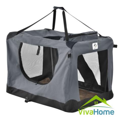 """Összecsukható kutyaszállító box  58 × 82 × 58 cm - """"Lassie XL"""" (sötétszürke)"""