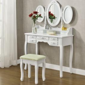 """Sminkasztal fehér színben, 3 tükörrel és ülőkével """"Elsa"""""""