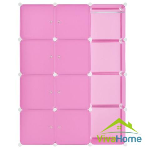 Gardróbszekrény, Ruhásszekrény 12 részes, variálható, minőségi műanyagból, rózsaszín (pink)