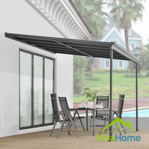 """Terasz előtető UV védelemmel, aluminium és duplafalú üvegezett polikarbonát """"Borneo"""" 3x3 m"""