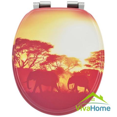 """WC-ülőke """"Afrika"""", MDF-ből, kényelmes, finoman záródó, lecsapódásgátló automatikával"""